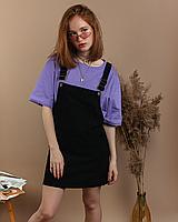 Стильный женский вельветовый сарафан с карманами черный велюровый XL, Черный