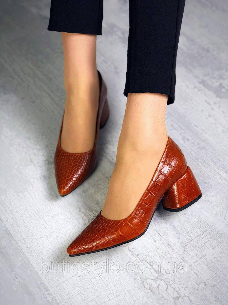 Женские рыжие туфли натуральная кожа на каблуке