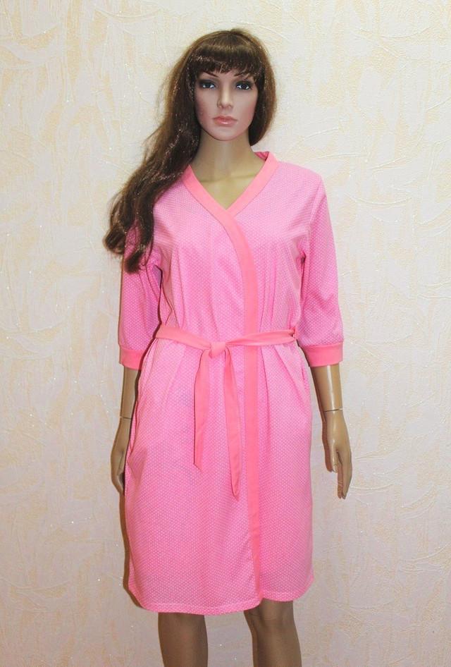 Женский халат и ночная сорочка для беременных и кормящих летний в роддом розовый