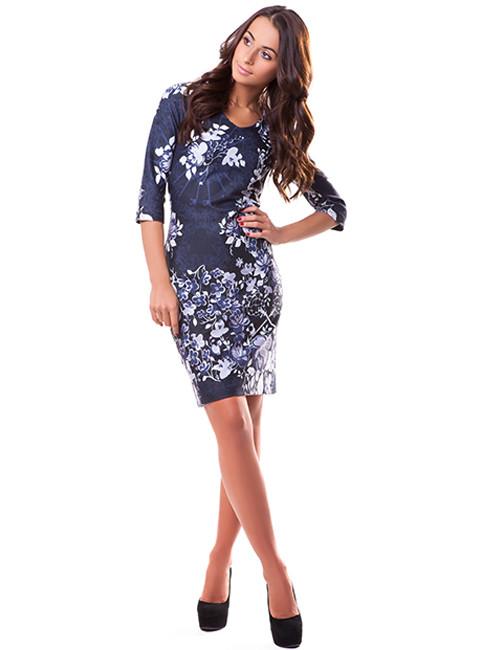 Трикотажное женское платье с узором (S-L)