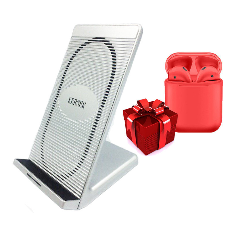 Беспроводная зарядка KERNER Серебро + Беспроводные сенсорные наушники inPods 12 Красные в ПОДАРОК