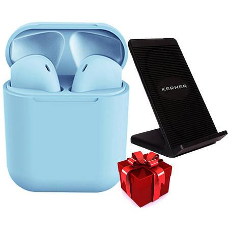 Беспроводные наушники inPods 12 blue gloss + Беспроводное зарядное устройство KERNER Черный, фото 2