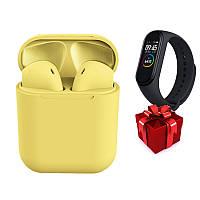 Беспроводные наушники inPods 12 yellow (желтые) + Фитнес браслет Band M4 в ПОДАРОК