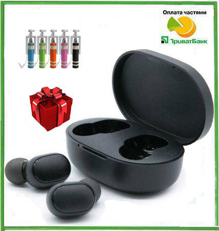 Беспроводные наушники Redmi Airdots Black + монопод в подарок, фото 2