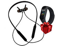 Беспроводные наушники Wireless  Headset Черно-красные + Фитнес браслет Band 4 в ПОДАРОК!!!!
