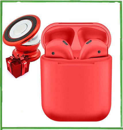 Беспроводные сенсорные наушники bluetooth inPods 12 красные + подарок крепление для смартфона, фото 2