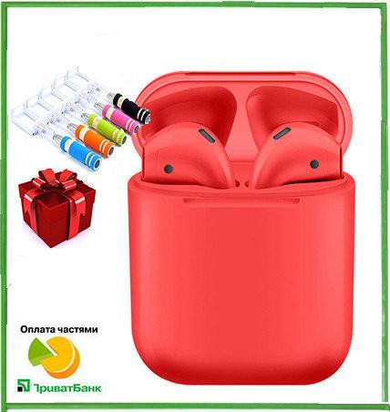 Беспроводные сенсорные наушники bluetooth inPods 12 красные + подарок монопод