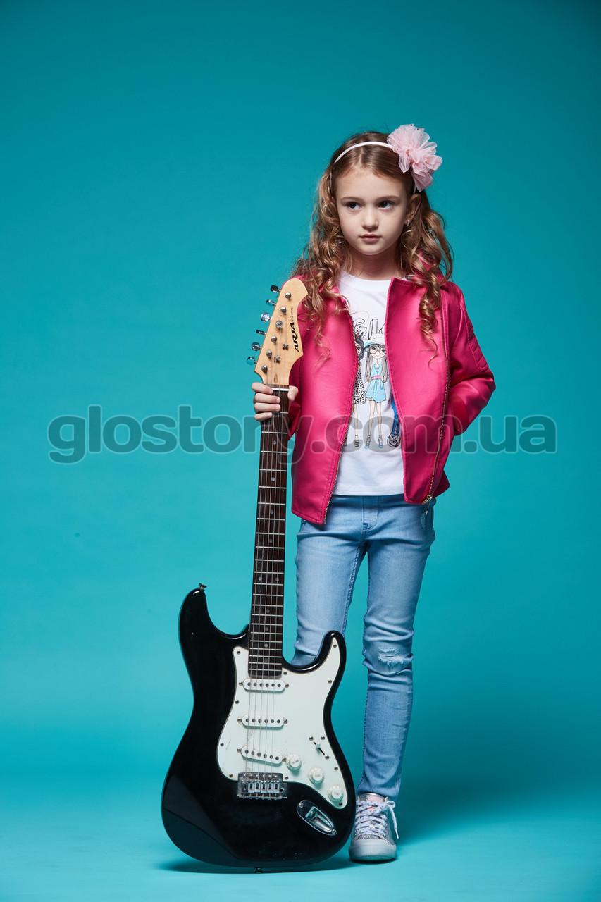 Розовая кожанка для девочки Glo-Story
