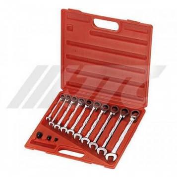 Набор ключей рожково-накидных с трещоткой 8-19мм 10ед JTC 3028