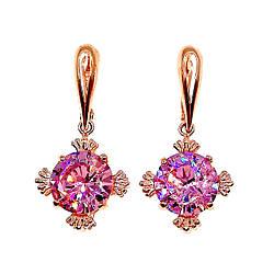 Сережки SONATA з медичного золота, рожевий фіаніт, позолота PO, 23148 (1)