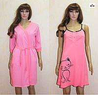 Комплект для годування нічна сорочка і халат річний в пологовий будинок рожевий 44-54р., фото 1
