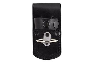 Держатель для дубинки ПГ-М, чехол под дубинку, держатель с кольцом для ношения дубинки (кожаный, чёрный)