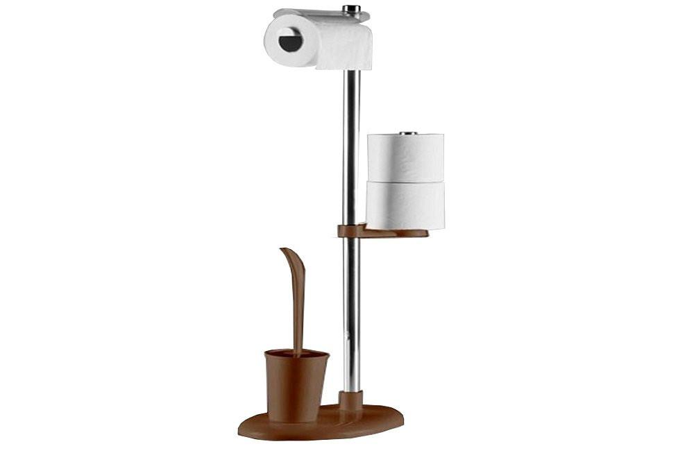 Стійка з тримач туалетного паперу і йоржем колір коричневий