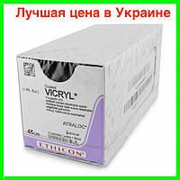 Шовный материал Vicryl 1, кол игла 25мм, 1/2. Хирургические нити