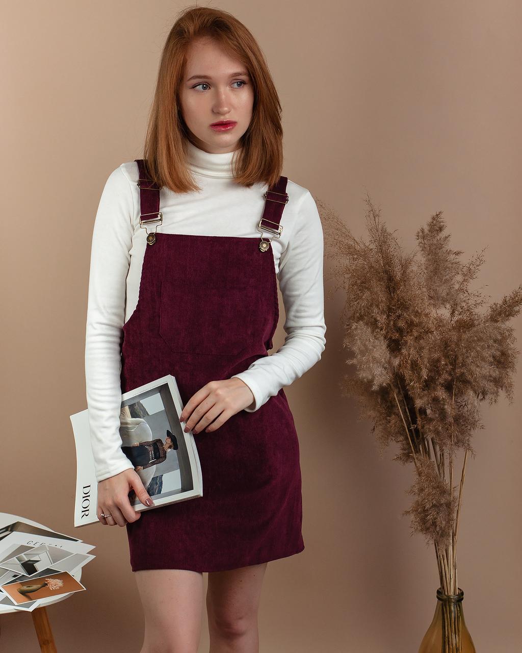 Стильный женский сарафан с карманами вельветовый велюровый бордовый винный