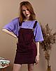 Стильный женский сарафан с карманами вельветовый велюровый бордовый винный - Фото