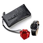 Кошелек портмоне для настоящих мужчин Alligator Black  + В ПОДАРОК Мужские наручные часы WLISTH!!!