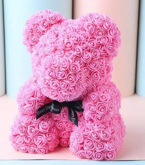 Мишка из роз 40 см розовый, фото 2