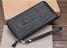 Мужской клатч кошелек портмоне Alligator Black + Фитнес браслет Band M4 в ПОДАРОК!!!, фото 2