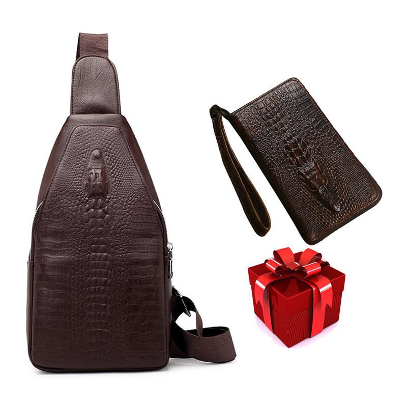 Новая мужская сумка слинг Alligator Brown  + В ПОДАРОК Кошелек портмоне Alligator Brown!!!