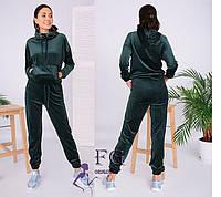 Женский зеленый спортивный костюм из велюра