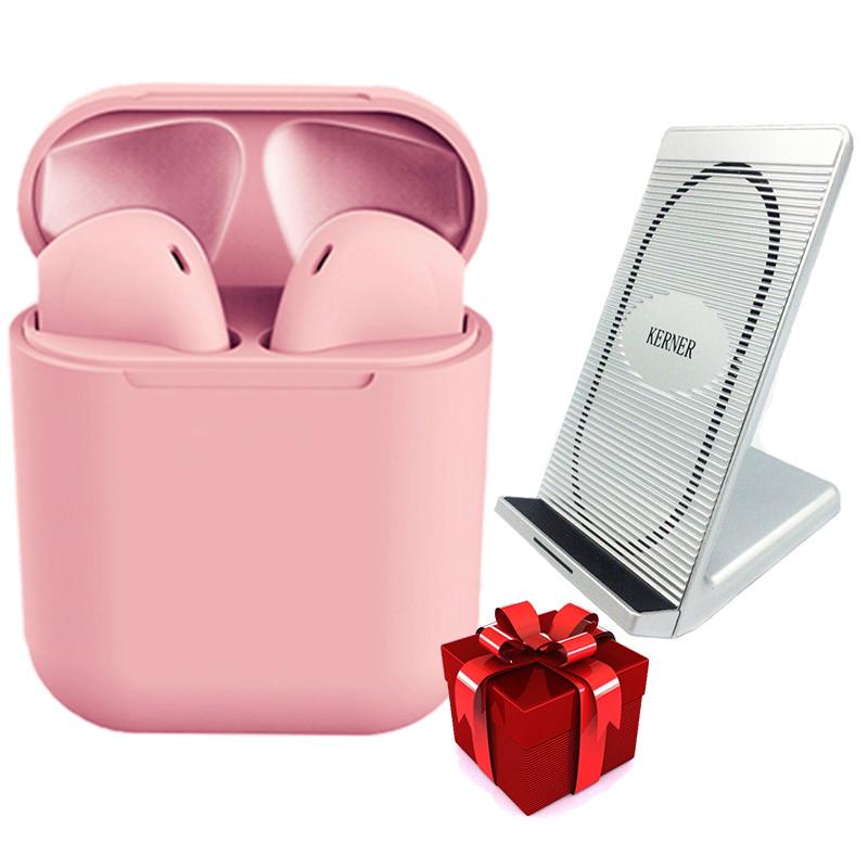 Сенсорные наушники inPods 12 розовые + Беспроводное зарядное устройство KERNER Серебро