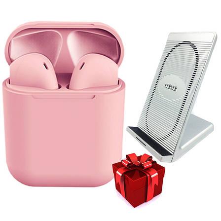 Сенсорные наушники inPods 12 розовые + Беспроводное зарядное устройство KERNER Серебро, фото 2