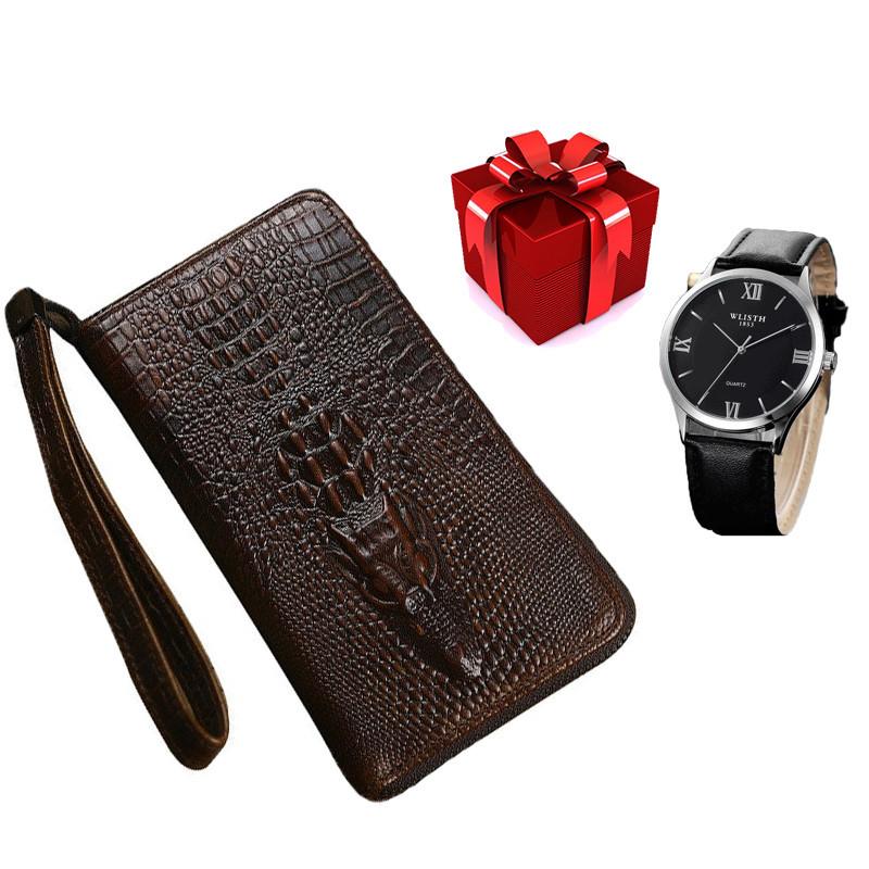 Стильный портмоне Alligator Brown для настоящих мужчин + Мужские наручные часы WLISTH в ПОДАРОК!!!