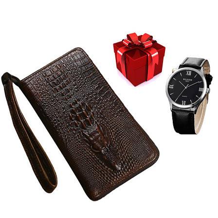 Стильный портмоне Alligator Brown для настоящих мужчин + Мужские наручные часы WLISTH в ПОДАРОК!!!, фото 2