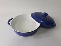 СВЧ Кастрюля с крышкой 31х26х6,5 см синяя керамика