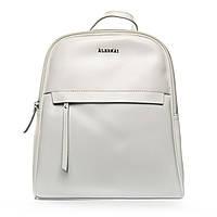 Женская сумка-рюкзак из натуральной кожи 2 в 1 белого цвета
