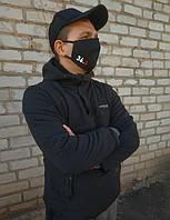 Многоразовая маска. Черная маска с индивидуальным принтом, надписью. картинкой