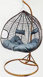 Підвісне крісло-гойдалка кокон B-183E (коричнево-сіре) (46000008)