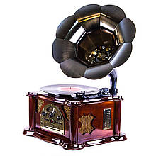Граммофон в сочетании с современными технологиями в корпусе из натурального дерева «Синатра». Вишня