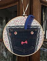 Органайзер декоративный настенный тканевый подвесной круглый для хранения мелочей