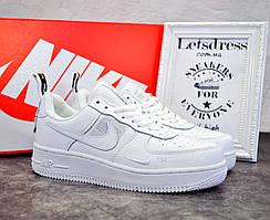 ✅ Женские кожаные кроссовки Nike air force 1 low white, найк аир форс белые подростковые аір форси