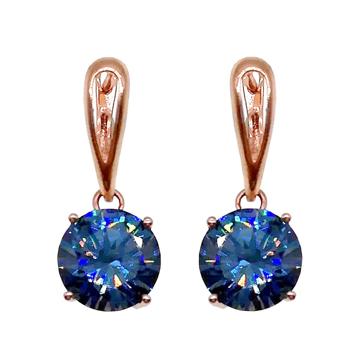 Серьги SONATA из медицинского золота, голубые фианиты, позолота PO, 22532       (1)
