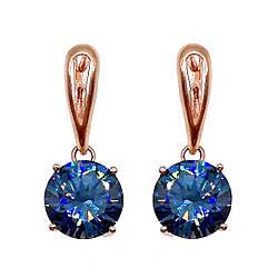 Сережки SONATA з медичного золота, блакитні фіаніти, позолота PO, 22532 (1)