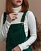 Стильный сарафан женский бархатный вельветовый велюровый с карманами изумрудный зеленый - Фото