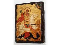 Икона под старину Чудо Георгия о змие, 13х17 см, 13х17 см