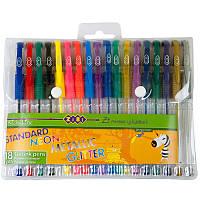Ручка гелевая ZiBi KIDS Line STANDARD+NEON+GLITTER+METALLIC набор 18 цв (ZB.2206-99)