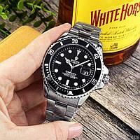 Мужские наручные часы кварцевые Rolex Submariner 2128 Silver-Black