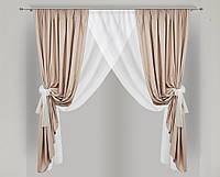 Кухонная занавеска Арима (шторы и тюль для невысоких окон) 140х170 см Светло-бежевая