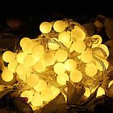 СВЕТОДИОДНАЯ ГИРЛЯНДА НА СОЛНЕЧНОЙ БАТАРЕЕ ШАРИКИ 7 МЕТРОВ 50LED ( желтый), фото 2