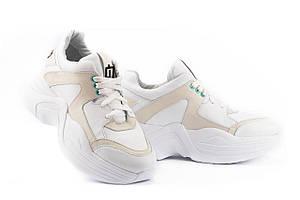 Женские кроссовки кожаные весна/осень белые ANRI-de-colo 655/158