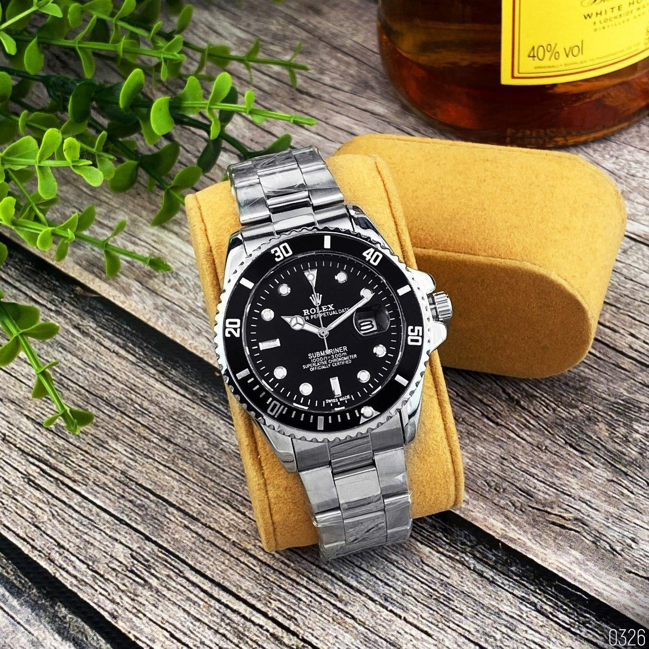 Мужские кварцевые наручные часы Rolex Submariner 2128 Silver-Black