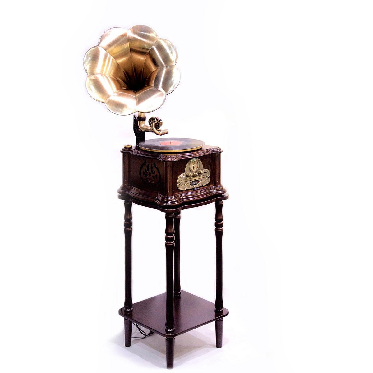 Граммофон в ретро стиле с корпусом и тумбой из натурального дерева «Париж»