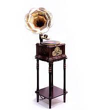 Грамофон в ретро стилі з корпусом і тумбою з натурального дерева «Париж»
