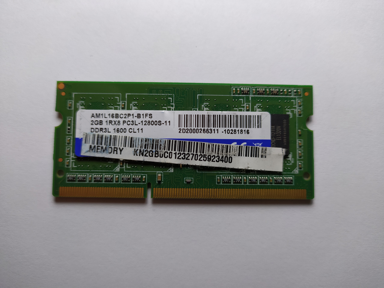Оперативная память для ноутбука SODIMM ADATA DDR3L 2Gb 1600MHz PC3L-12800S (AM1L16BC2P1-B1FS) Б/У