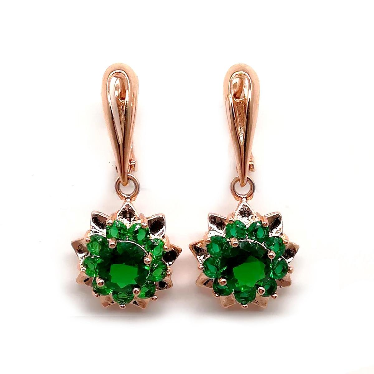 Серьги SONATA из медицинского золота, зеленые фианиты, позолота PO, 23069             (1)